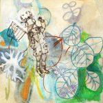 Eucalyptus bleu, techniques mixtes et gravure sur papier, 15 x 15 cm, 2016 © Marie Tijou