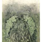 Béliers verts, aquatinte sur papier, 30 x 40 cm, 2017 © Marie Tijou